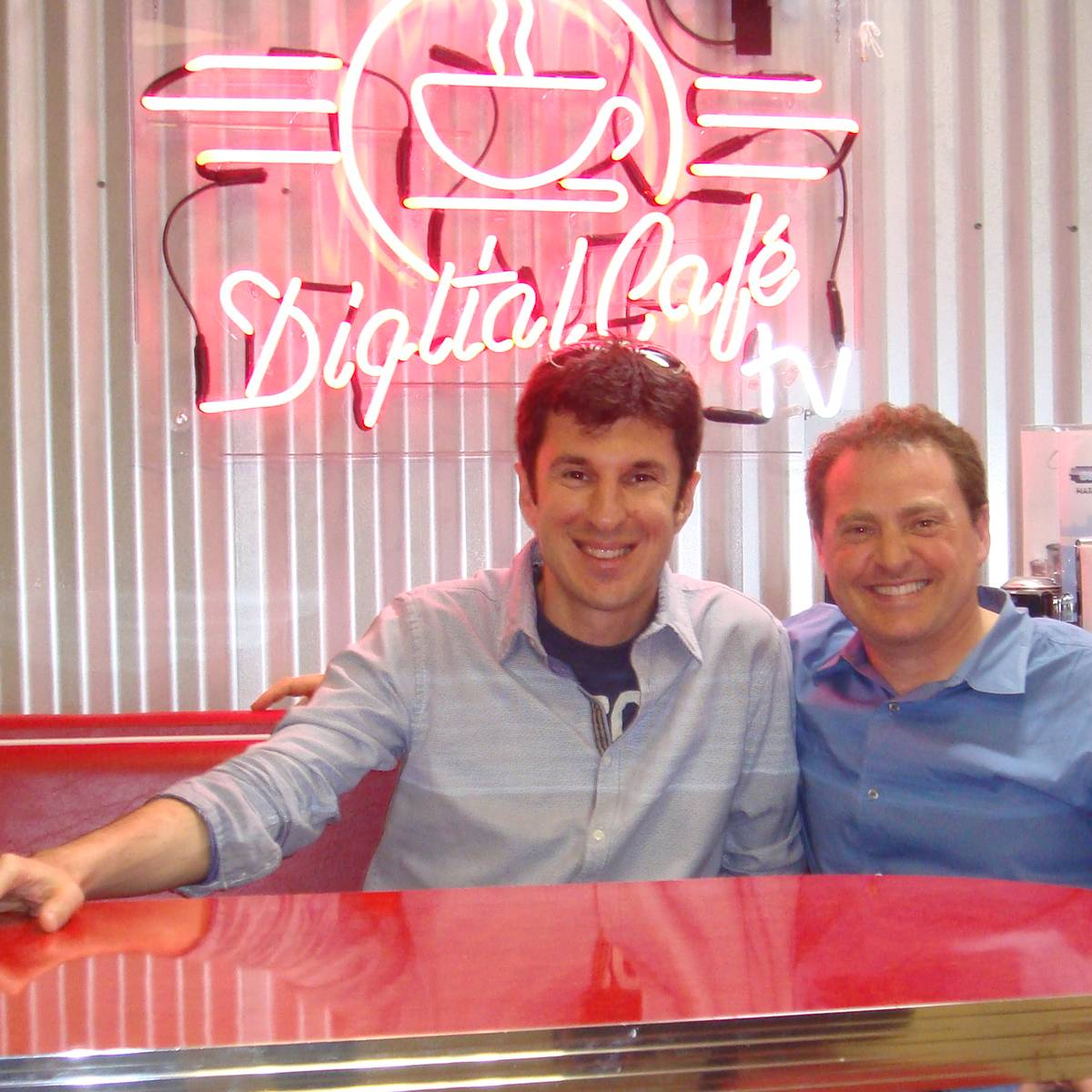 Mike Koenigs and Angelo Labrou at Digital Cafe in San Diego