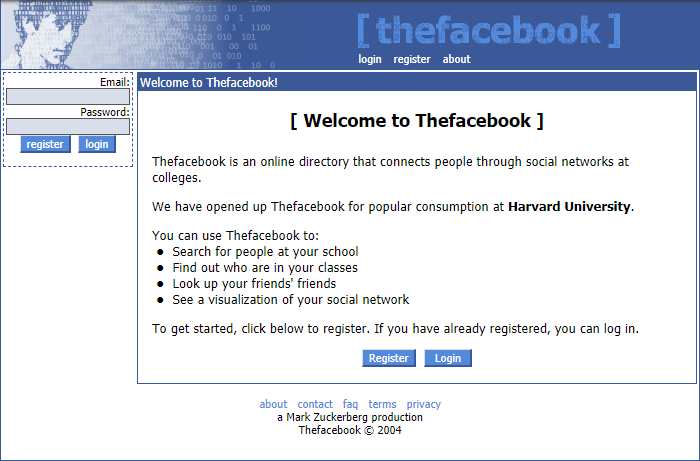 The Facebook first home page February 4th 2004